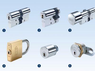 1. Doppelzylinder, 2. Halbzylinder, 3. Knaufzylinder, 4. Hangschloss, 5. Rundzylinder, 6. Hebelzylinder