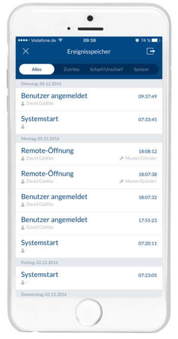 """wAppLoxx - Ereignisspeicher """"Alles"""""""