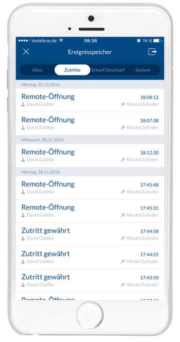 """wAppLoxx - Ereignisspeicher """"Zutritte"""""""