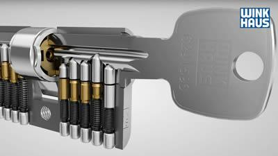 Ansicht der Stifte im Schnittmodell Profilzylinder