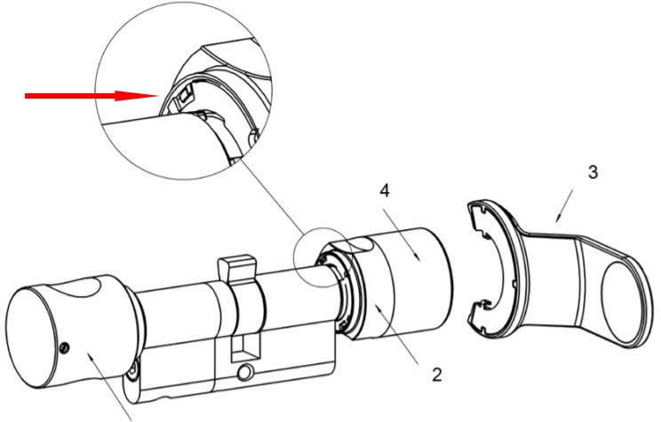 Zeichnung zeigt Batteriewechsel am SimonsVoss Schließzylinder