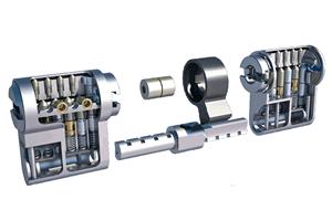 Modularer Schließzylinder in seinen Einzelteilen